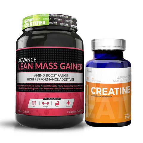 Advance Combo of Lean Mass Gainer Chocolate 2 LBS & Creatine Unflavor Powder 100Gm - Brutecart