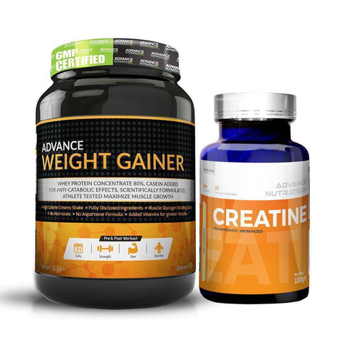 Advance Combo of Weight Gainer Banana Flavor 2 Lbs & Creatine Monohydrate Unflavor Powder 100 g - Brutecart
