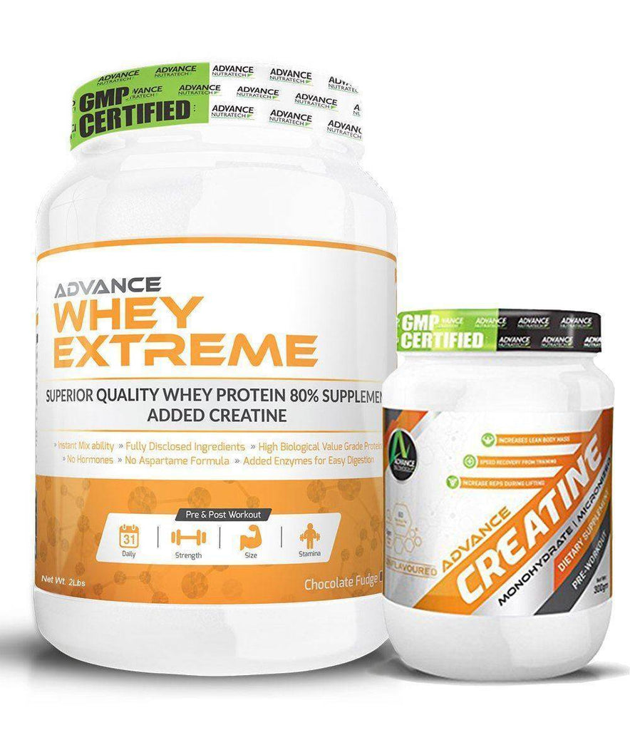 Advance Combo of Whey Extreme Protein Chocolate 2 Lbs & Creatine UnFlavor Powder 300 g - Brutecart