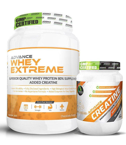 Image of Advance Combo of Whey Extreme Protein Chocolate 2 Lbs & Creatine UnFlavor Powder 300 g - Brutecart