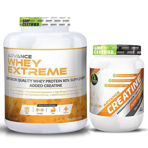 Image of Advance Combo of Whey Extreme Protein Chocolate 4 Lbs & Creatine UnFlavor Powder 300 g - Brutecart