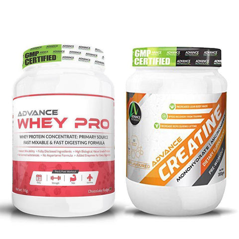 Advance Combo of Whey Pro Protein Chocolate Powder 1 kg & Creatine Unflavoured Powder 300 g - Brutecart