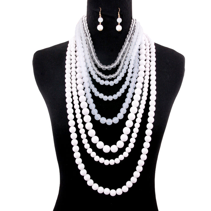 MAKEDA WHITE & CLEAR OMBRE NECKLACE SET