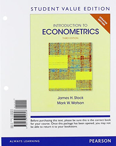 Introduction To Econometrics, Update, Student Value Edition (3Rd Edition)