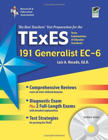 Texas Texes Generalist Ec-6 (191) With Cd-Rom (Texes Teacher Certification Test Prep)