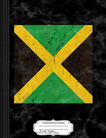 Distressed Flag Of Jamaica Composition Notebook: College Ruled 9 X 7 100 Sheets 200 Pages For Writing