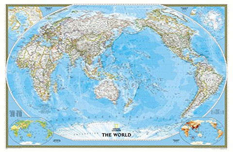 National Geographic: World Classic, Pacific Centered Wall Map (46 X 30.5 Inches) (National Geographic Reference Map)