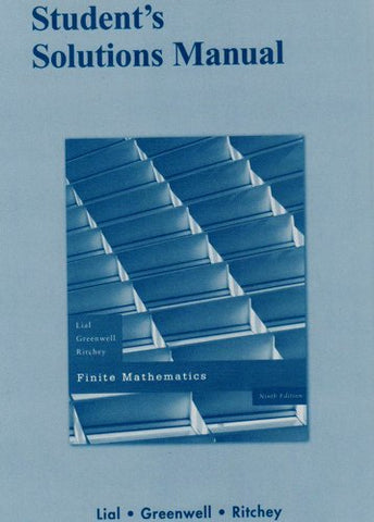 Student Solutions Manual For Finite Mathematics