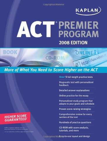 Kaplan Act 2008 Premier Program (W/ Cd-Rom) (Kaplan Act (Book & Cd-Rom))