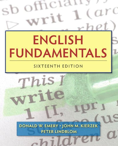 English Fundamentals (With Mywritinglab Pearson Etext Student Access Code Card) (16Th Edition)