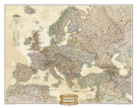 National Geographic: Europe Executive Wall Map - Laminated (30.5 X 23.75 Inches) (National Geographic Reference Map)
