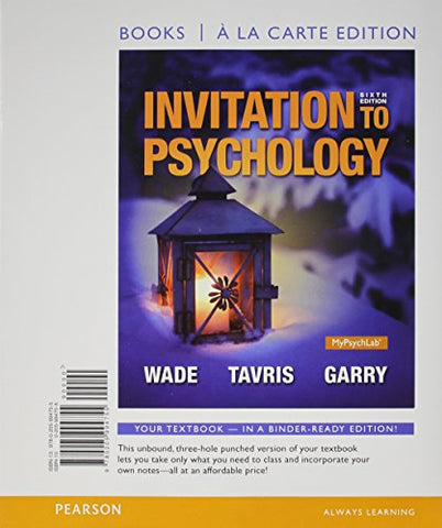 Invitation To Psychology, Books A La Carte Edition (6Th Edition)