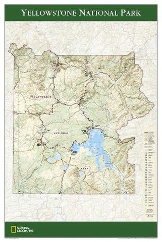 National Geographic: Yellowstone National Park Poster Wall Map (24 X 36 Inches) (National Geographic Reference Map)