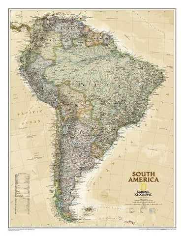 National Geographic: South America Executive Wall Map - Laminated (23.5 X 30.25 Inches) (National Geographic Reference Map)