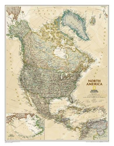 National Geographic: North America Executive Wall Map (23.5 X 30.25 Inches) (National Geographic Reference Map)