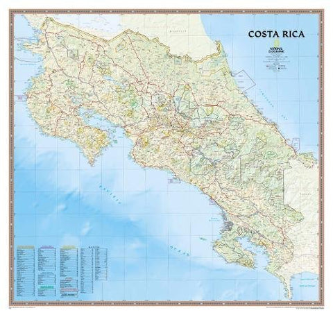 National Geographic: Costa Rica Wall Map (38 X 36 Inches) (National Geographic Reference Map)