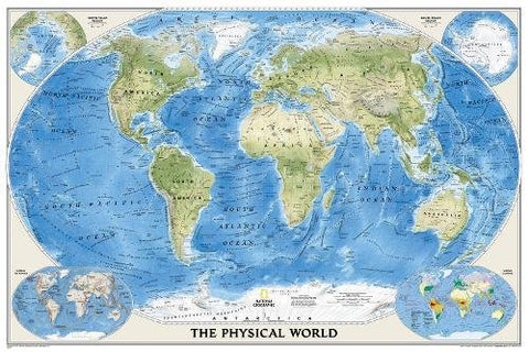 National Geographic: World Physical Wall Map - Laminated (45.75 X 30.5 Inches) (National Geographic Reference Map)