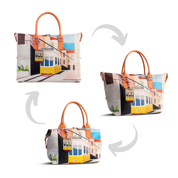 Convertible 3in1 Cork Handbag Modern Tiles - Shop now at StudioCork
