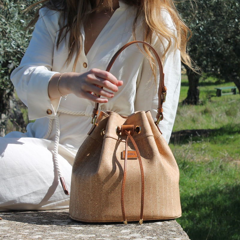 Classic Gold Cork Bucket Bag - Shop now at StudioCork