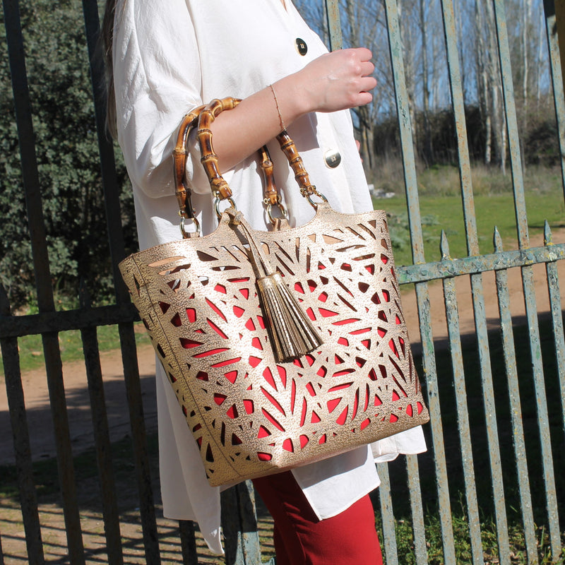 Cork Gold Basket Bambu Handbag - Shop now at StudioCork