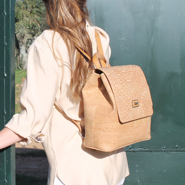 Natural Cork Backpack Texture Detail - Shop now at StudioCork