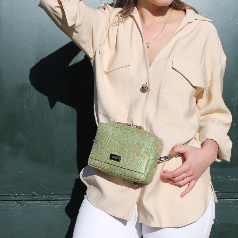 Cork Crossbody & Belt Bag Green Snake - Shop now at StudioCork