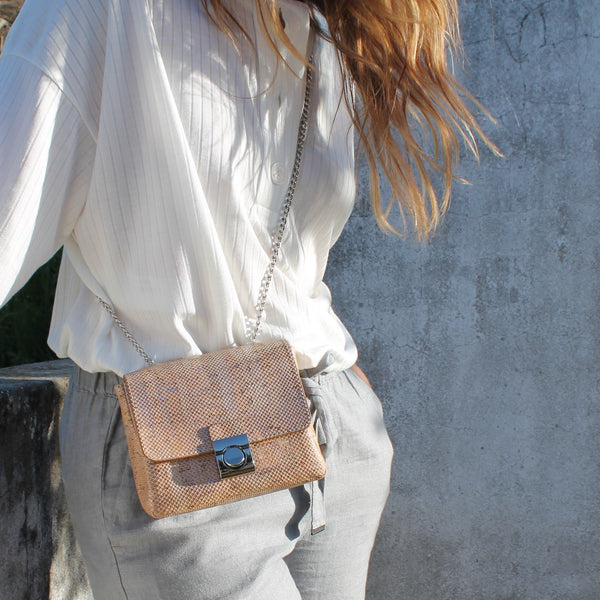 Mini Cork Shoulder & Handbag Silver Grid - Shop now at StudioCork