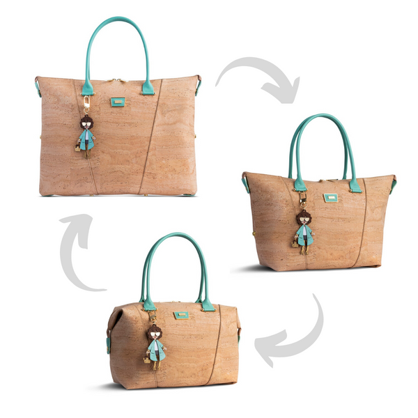 Cork Handbag 3in1 Natural & Blue - Shop now at StudioCork
