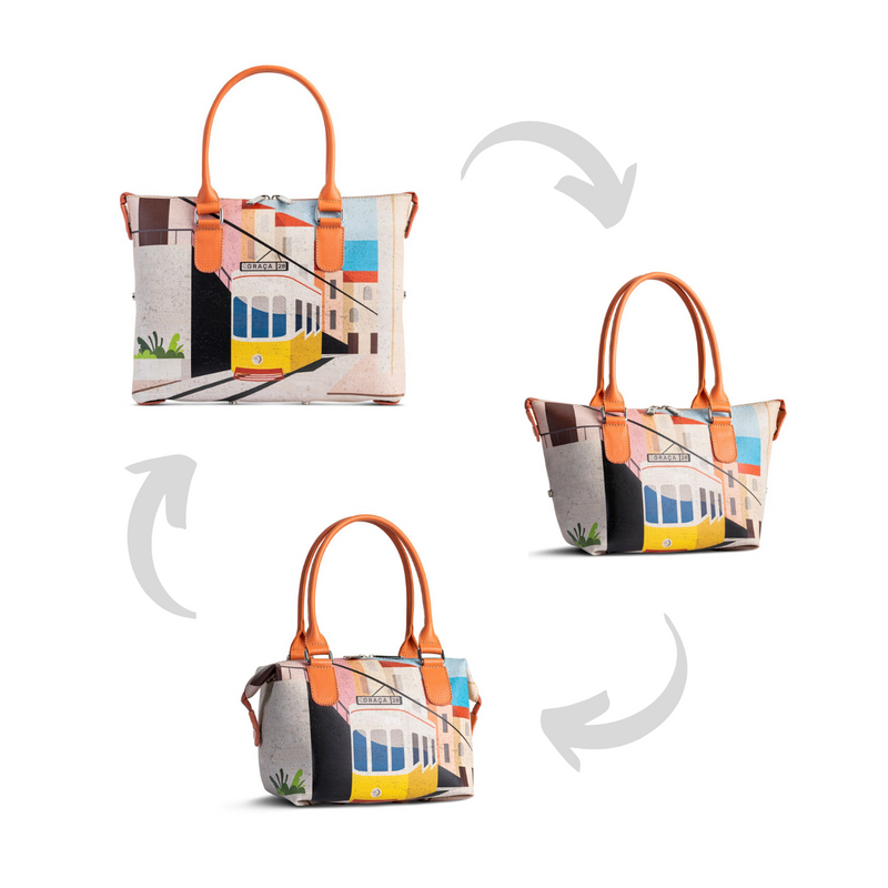 "Convertible 3in1 Cork Handbag ""Lisbon Tram 28"" - Shop now at StudioCork"