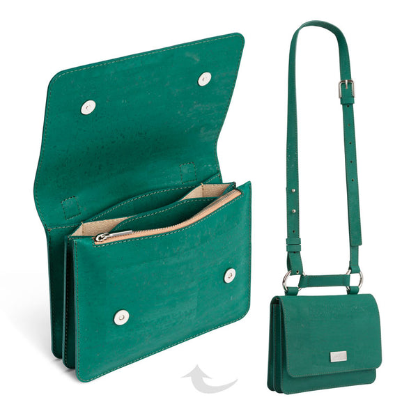 Cork Crossbody Shoulder Bag Bottle Green - Shop now at StudioCork