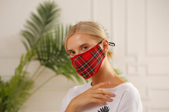 Face Mask Tartan Fabric Adjustable With Filter