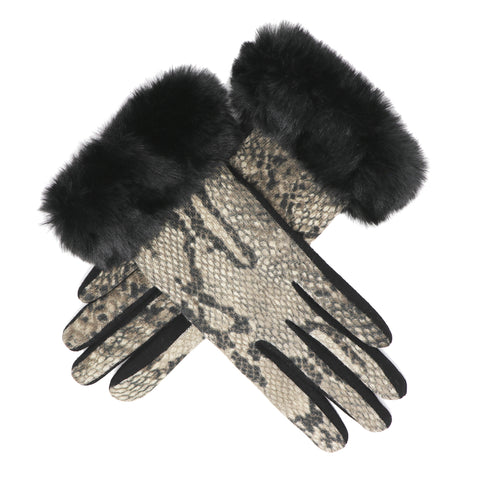 Faux-Fur Snake Gloves