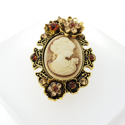 Brooch Cameo with Flowers and Crystals