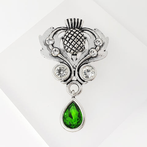 Thistle Brooch with Pendant Crystal