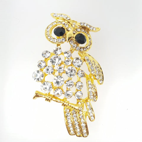 Owl on Tree Branch Brooch