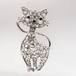 Cat Brooch Crystals & Pearls