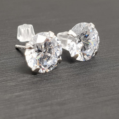 Sterling Silver Stud Earrings Crystal