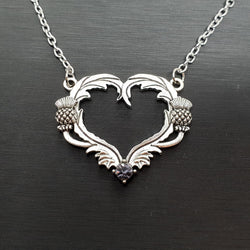 Celtic Heart Thistle Necklace