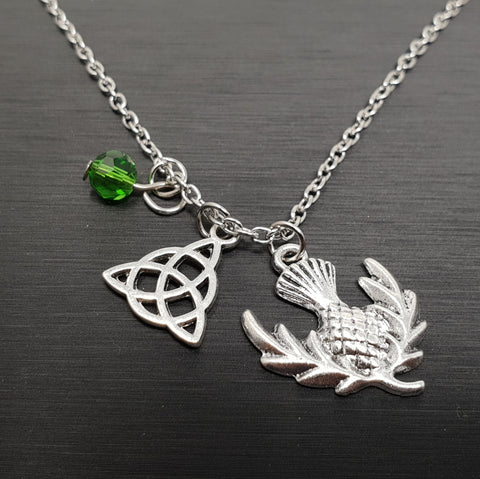 Celtic Trinity Knot with Thistle Necklace