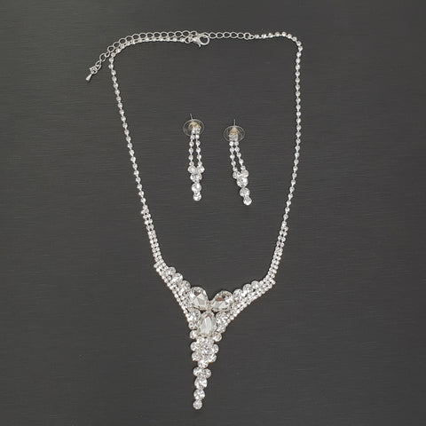 Set Necklace Earrings Clear Crystals