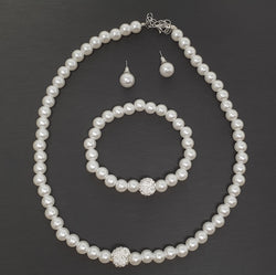 Set Pearl Nechlace Earrings & Bracelet