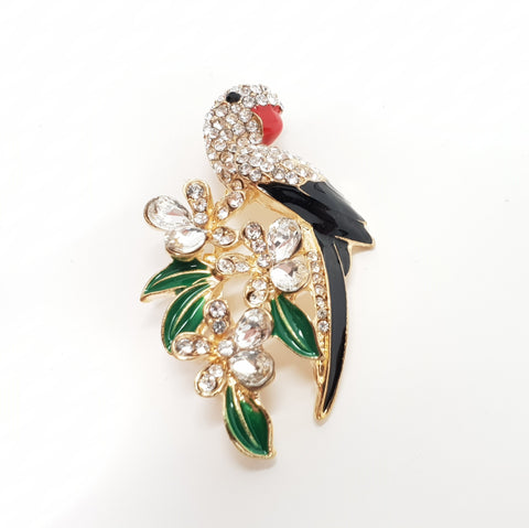Parrot Brooch with Leaves.