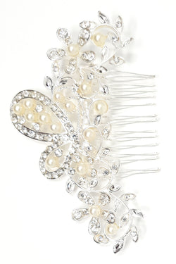Hair Comb Slide Pearl and Daisies