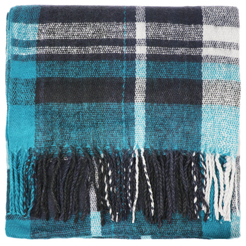 Large tartan scarf - Green and blue