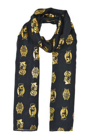 Gold Large Owls Scarf