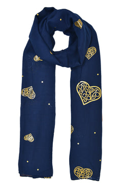 Gold Celtic Heart Scarf