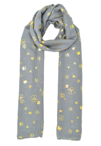 Small Gold Butterfly Contour Scarf
