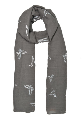 Silver Butterfly & Hummingbird Scarf