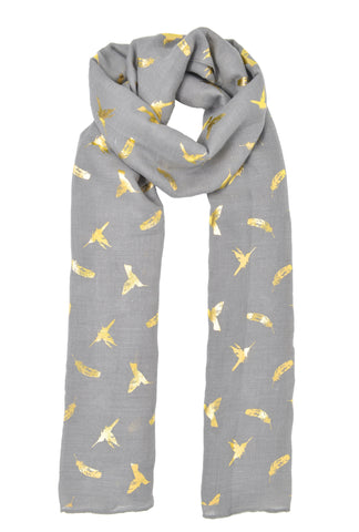 Gold Hummingbird & Feather Scarf