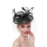 Round Fascinator with Veil & Feather